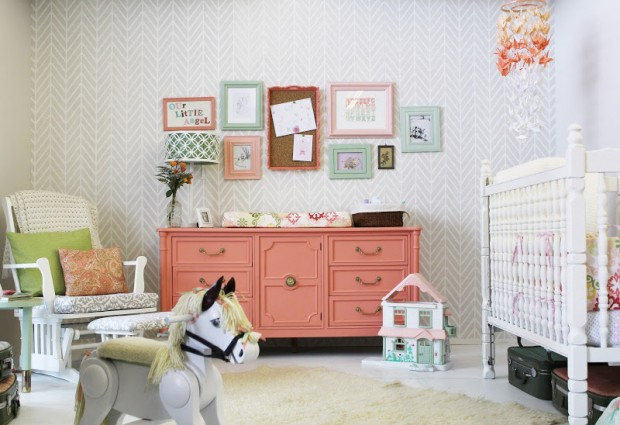 Ideas for Repurposing an Old Dresser - Coral Dresser Baby Change Table - Turned to Design