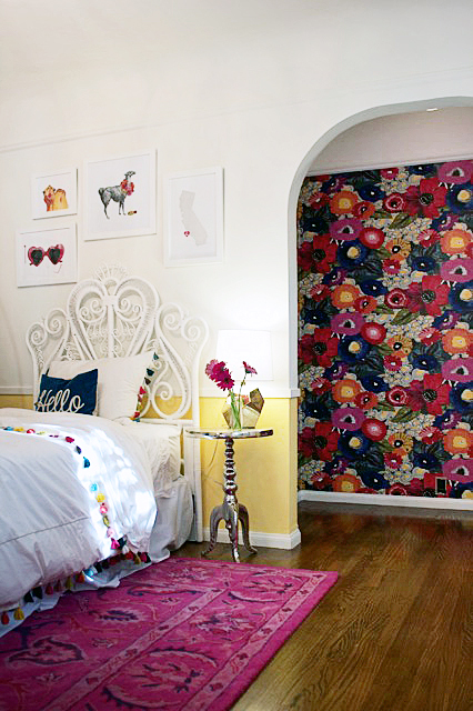 Girl's Room with Bold Floral Wallpaper