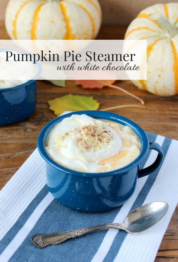 Skip the line-up at the coffee shop and make your own white chocolate pumpkin pie steamer at home. The perfect treat for chilly fall days!