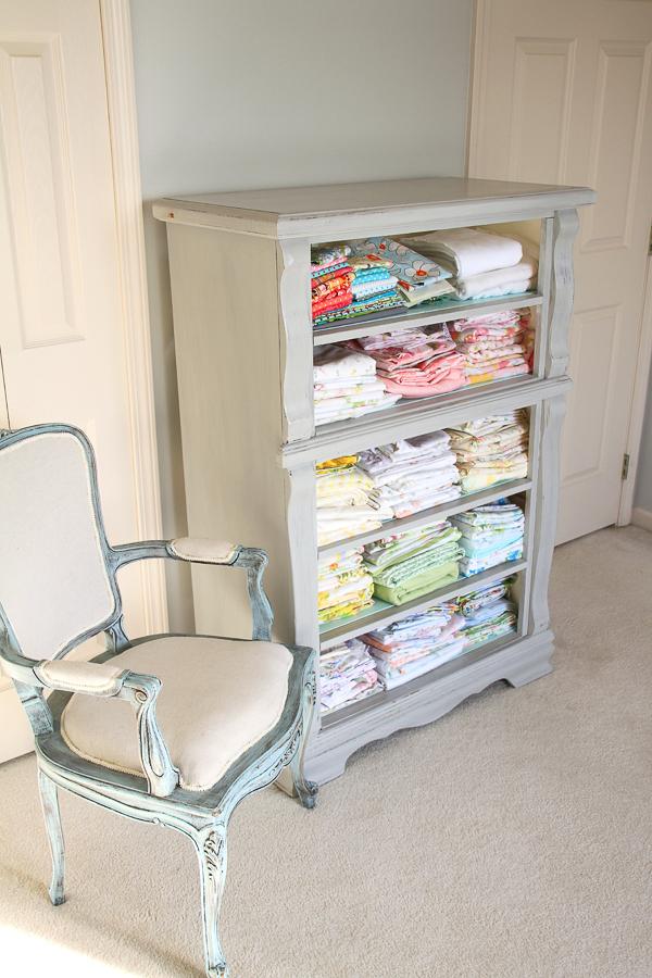 Repurposed Dresser Fabric Storage