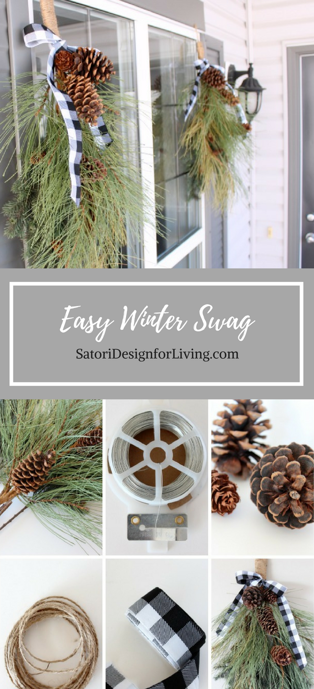 This winter swag is a quick and easy way to decorate your front porch for the winter and Christmas season! Full instructions at SatoriDesignforLiving.com