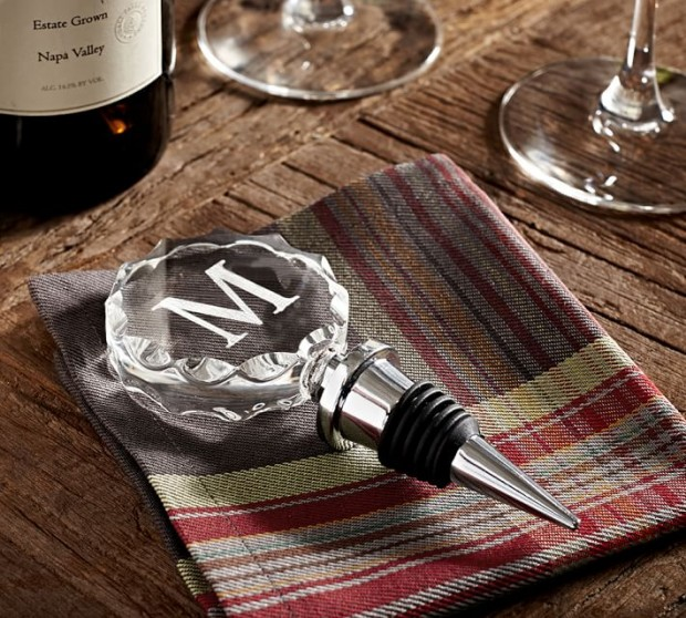 Holiday Hostess Gifts - Faceted Glass Monogram Wine Stopper