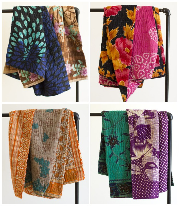 Kantha Throws from Dignify - Hand Stitched Quilts - Gift Idea