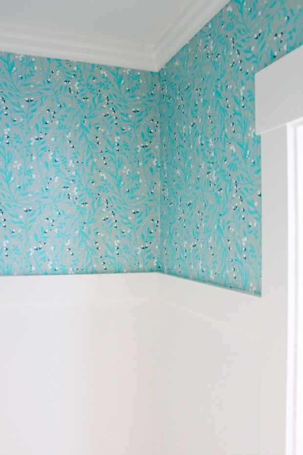 Powder Room Makeover- Turquoise Floral Wallpaper from Spoonflower - Satori Design for Living