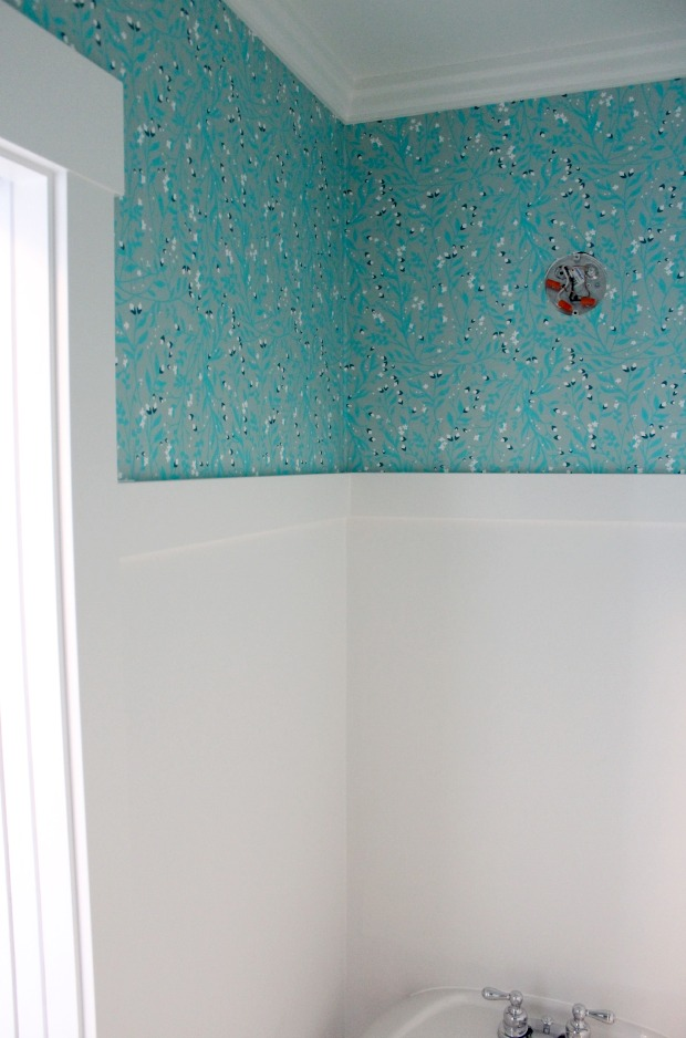Powder Room Update - Installing Turquoise Floral Wallpaper with White Dove Trim - Satori Design for Living