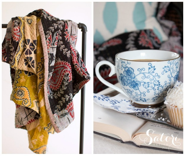 Favorite Things Giveaway - Hand-stitched Recycled Sari Quilt, Mug and Book - Satori Design for Living