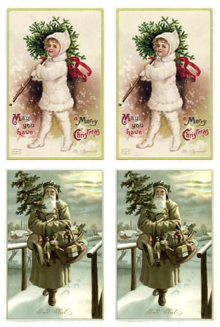 Vintage Christmas Gift Tags or Shabby Chic Ornaments - snow girl with topiary & Swedish santa iron on transfer printables - Satori Design for Living
