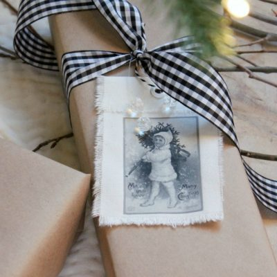 These vintage Christmas gift tags are an easy way to dress up plain craft paper wrap. Get creative with the images you choose to print. So fun!