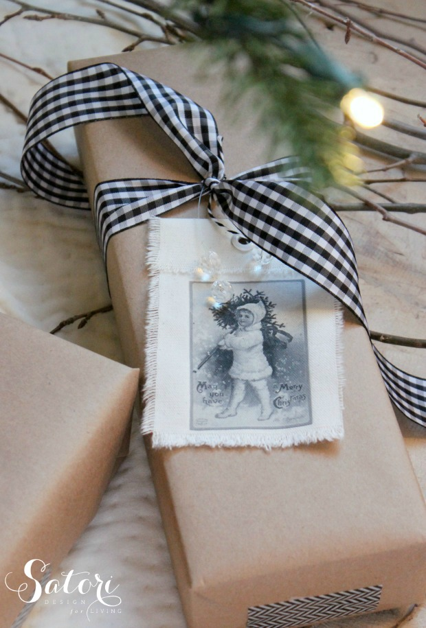 Vintage Christmas Gift Tags- made with vintage printables and iron on transfers