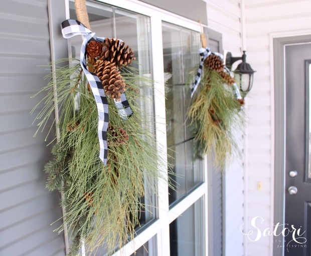 Winter Porch Decorating Ideas - Easy Winter Swag - Satori Design for Living