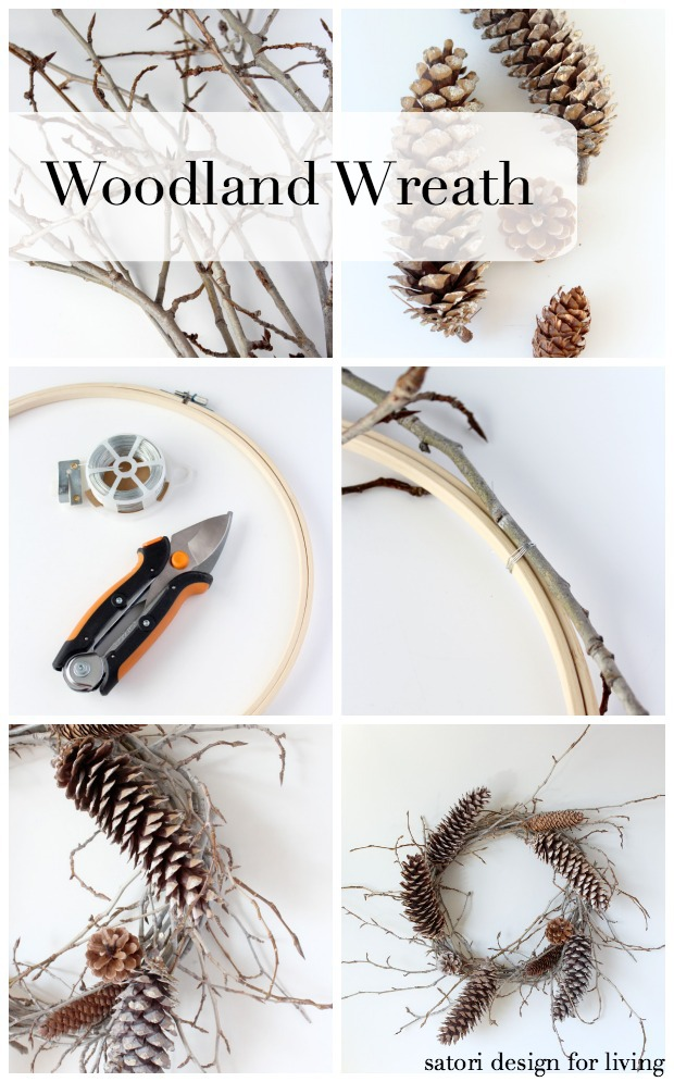 Learn how to make this simple woodland wreath with twigs and pine cones for less than $5! Details at SatoriDesignforLiving.com #pineconewreath #diyfalldecor