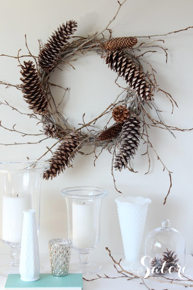 DIY Woodland Wreath with Twigs and Pine Cones | How to Make a Pine Cone Wreath | Satori Design for Living