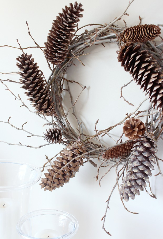Woodland Wreath - made with gathered twigs and pine cones - Satori Design for Living
