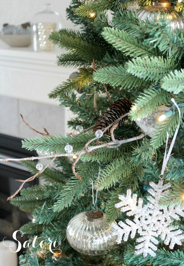 DIY Icy Twig Spray - Fill those bare spots on your Christmas tree! - Satori Design for Living