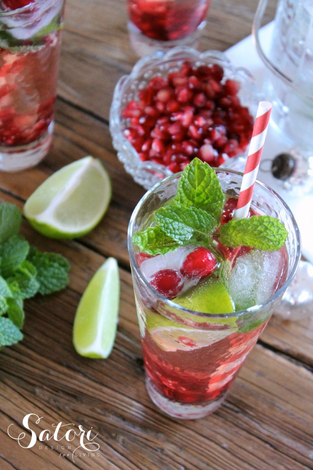 Pomegranate Mojito Cocktail for Holiday Entertaining | Satori Design for Living
