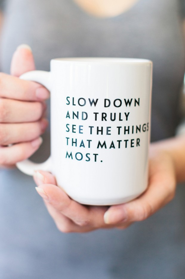 Tomkat Studio Slow Down Mug - remember to take pause this Christmas season