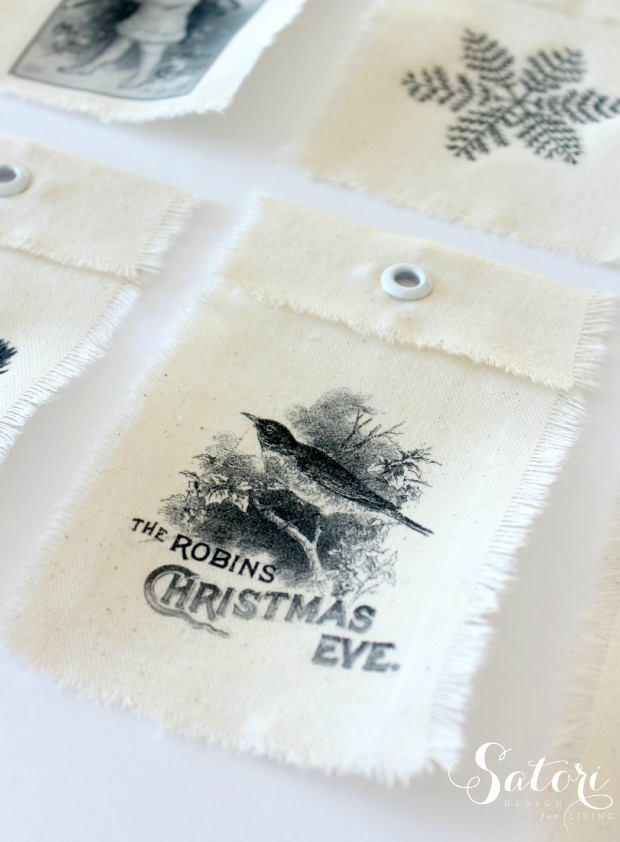 DIY Vintage Christmas Gift Tags - made with cotton canvas and iron on transfer printables - Satori Design for Living
