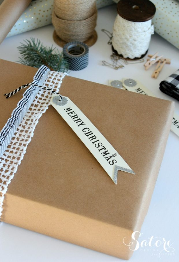 Vintage Glam Christmas Gift Wrapping Ideas - Merry Christmas Gift Tag Attached with Lace Ribbon