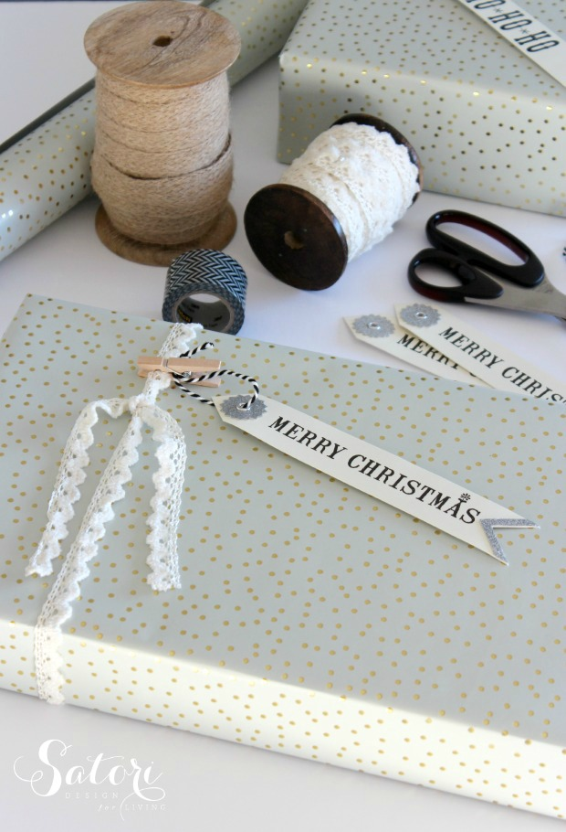 Vintage Glam Christmas Gift Wrap - Christmas gift wrapping ideas using vintage lace, mini clothespins and gift tags - Satori Design for Living