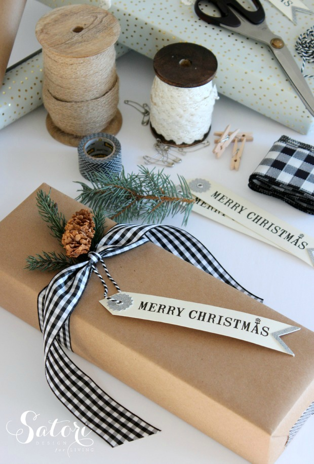 Vintage Glam Christmas Gift Wrap - Simple wrapping ideas with brown craft paper, gingham ribbon, fresh greens - Satori Design for Living