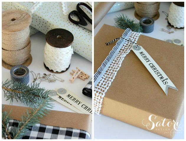 Vintage Glam Christmas Gift Wrap - Pretty Christmas gift wrapping ideas using spools of pretty lace and jute ribbon by Satori Design for Living