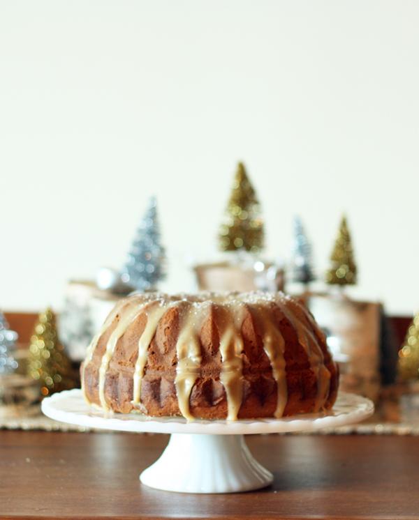 Holiday Recipe Ideas- Eggnog cake with salted caramel glaze