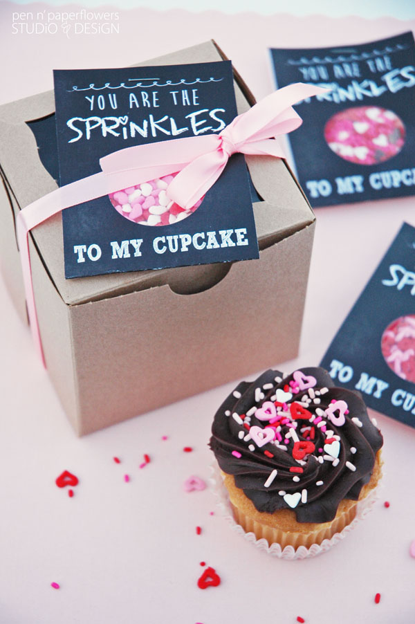 Cupcake Sprinkles Valentines Day Gift Idea with printable by Pen n' Paperflowers