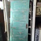 Salvaged blue-green door