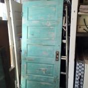 Salvaged blue-green door