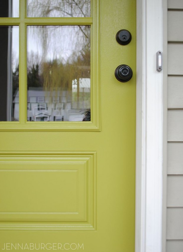 Apple Green Front Door via Jenna Burger