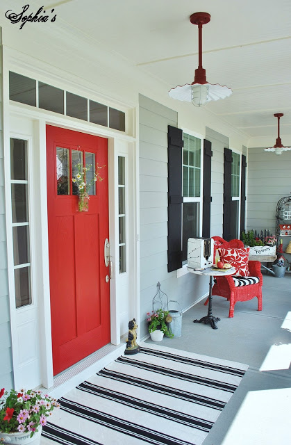 Sherwin Williams Primary Red Door - Bright Red Front Door via Sophia's Decor