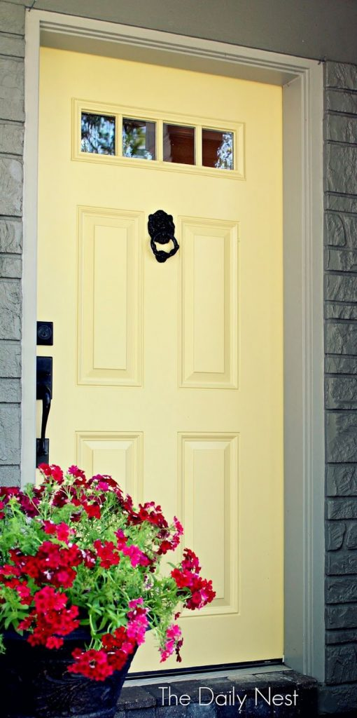 Sherwin Williams Beeswax Door - Butter Yellow Front Door - The Daily Nest