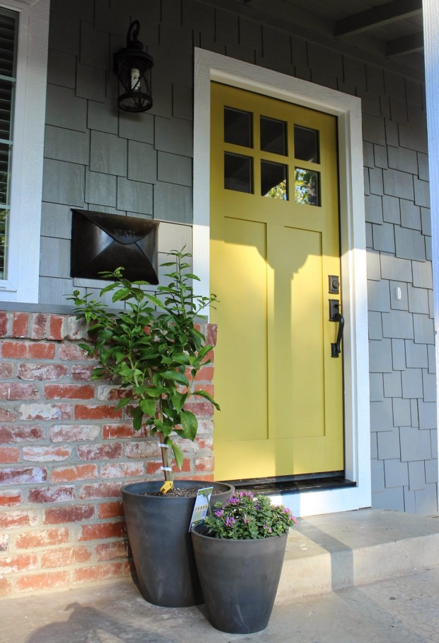 Sherwin Williams Antiquity Door - Chartreuse Front Door Paint Color via Chic Little House
