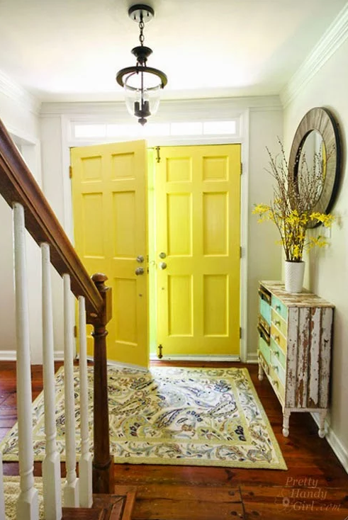 Interior Painted Yellow Highlighter Doors - Pretty Handy Girl & Beautiful Front Door Paint Colors - Satori Design for Living