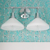 Powder Room Lighting Update- Eastmoreland Double Sconce from Rejuvenation