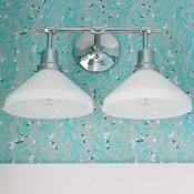 Powder Room Lighting Update- Eastmoreland Double Sconce from Rejuvenation