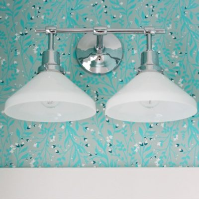 Powder Room Light Fixture Update - Eastmoreland Double Sconce from Rejuvenation | Satori Design for Living