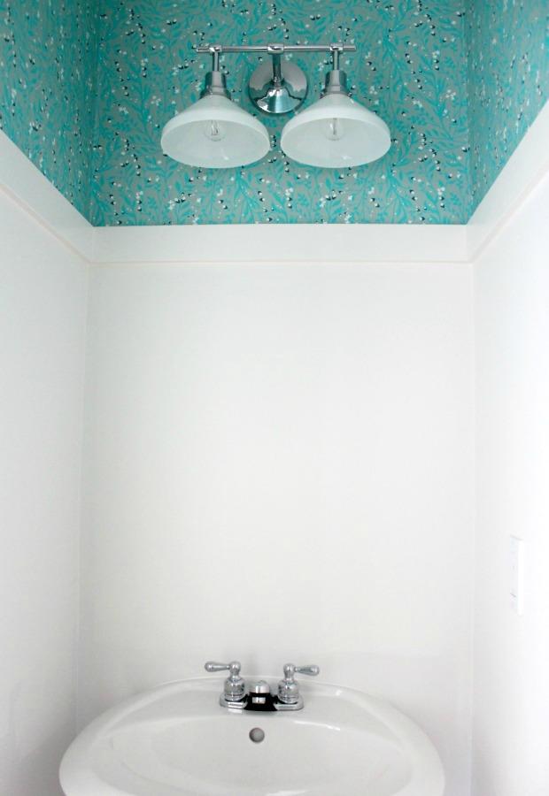 Powder Room Renovation - Milkglass and Polished Chrome Double Sconce from Rejuvenation | Satori Design for Living