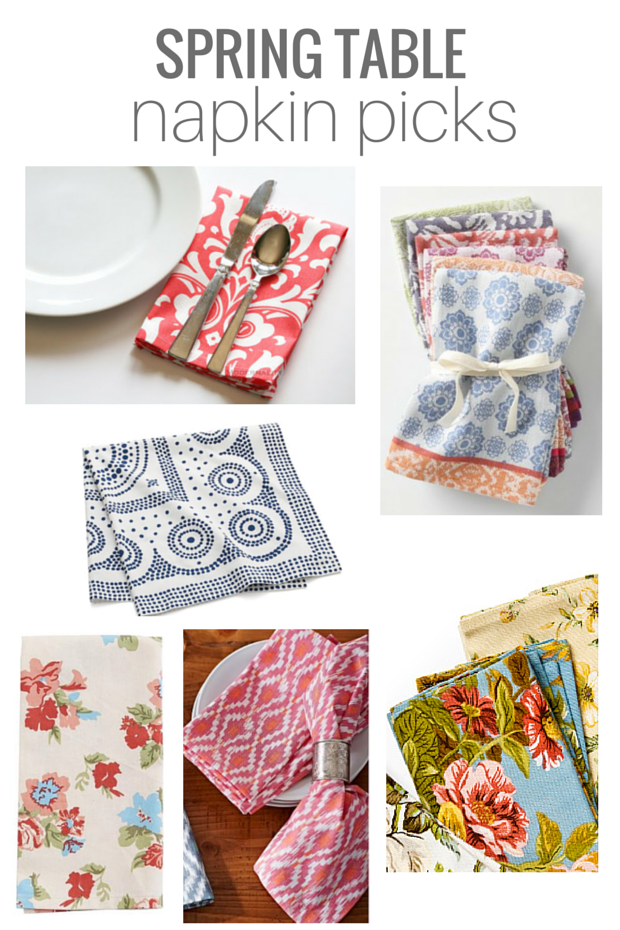 Colorful and patterned cloth napkins to wake up your table for spring!