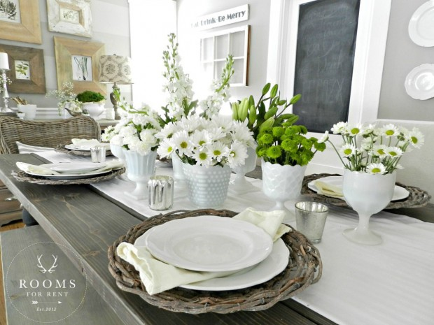Spring Decorating Ideas: Dining Room with Milk Glass Floral Arrangements by Rooms for Rent