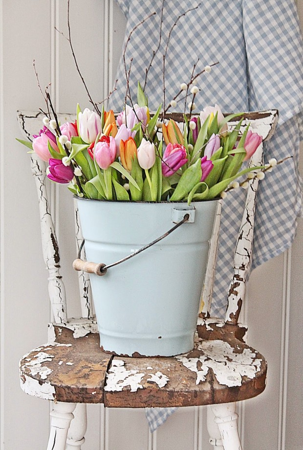 Spring Tulips in Vintage Bucket - Vibeke Design