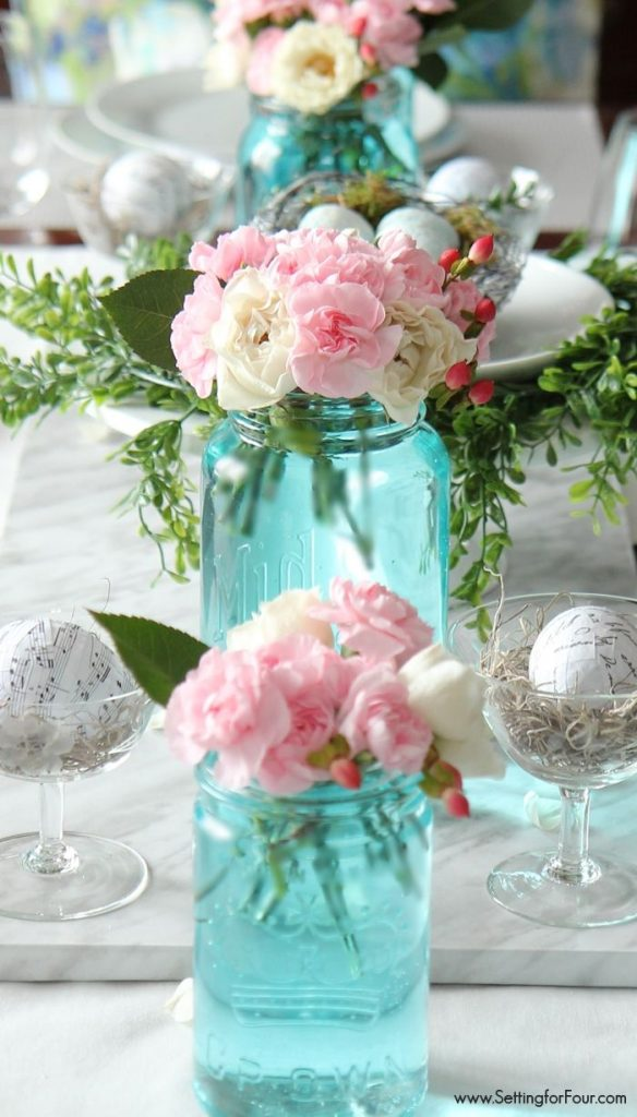 Ideas Tinted Blue Mason Jar Arrangements By Setting For Four