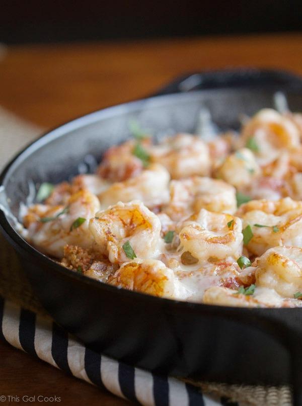 Skillet Recipe - Cajun Shrimp and Quinoa Casserole - This Gal Cooks