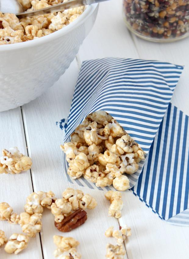 Honey & Cinnamon Caramel Popcorn Recipe- Made without corn syrup