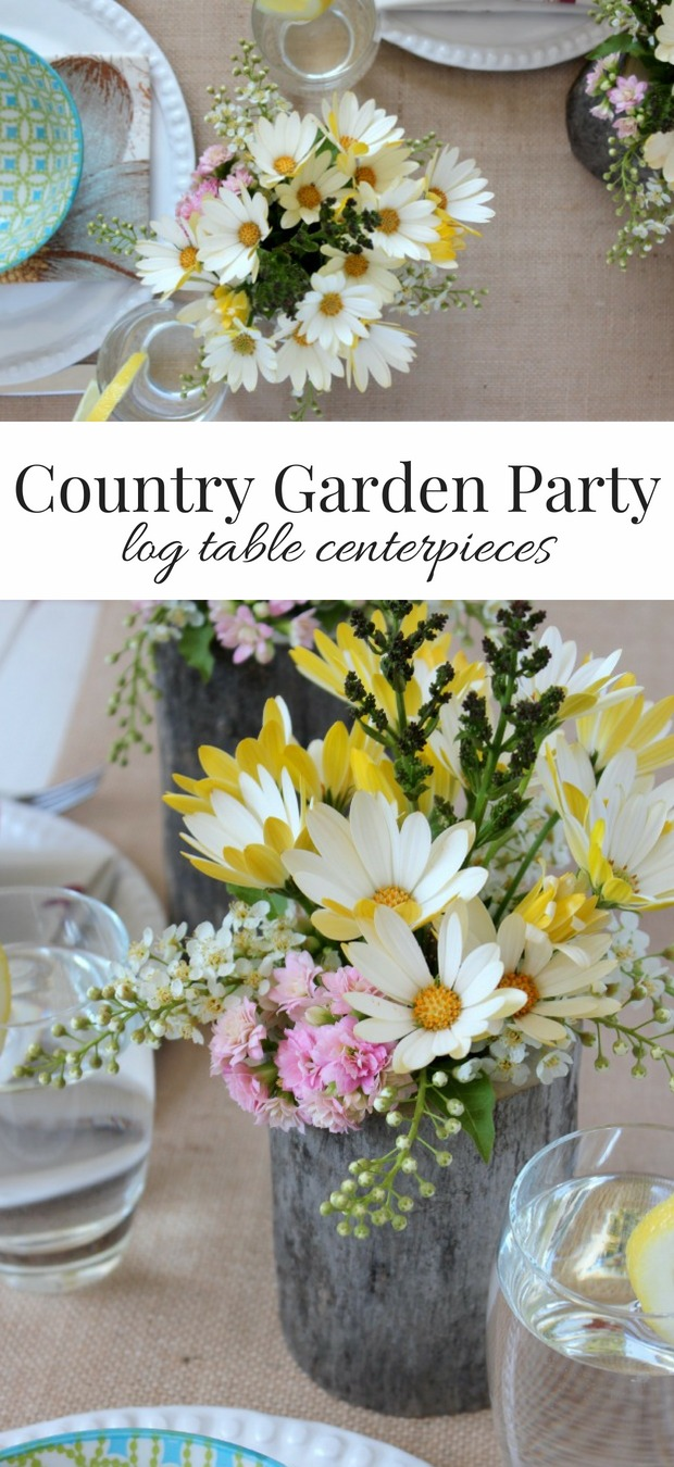 Learn how to make these easy and inexpensive DIY log and flower table centerpieces for your country garden party or wedding.