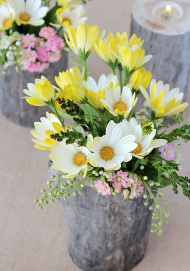 Country Garden Party Table Centerpieces - DIY log vases and tealight holders - Satori Design for Living