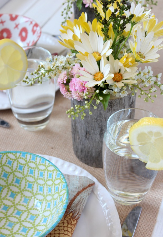 Country Garden Party Table Setting with DIY Log Floral Centerpiece - Satori Design for Living