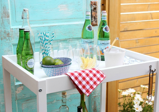 DIY Bar Cart for Outdoor Entertaining - Thrift Shop Makeover Using an IKEA Changing Table - Satori Design for Living