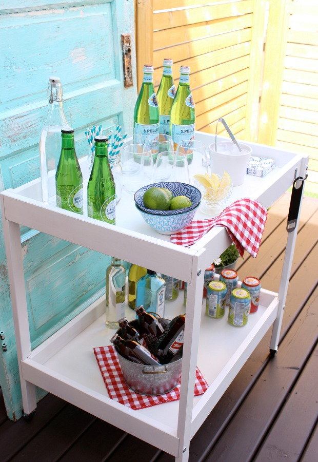 DIY Outdoor Bar Cart Summer Beverage Station by Satori Design for Living