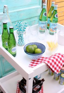 DIY Outdoor Bar Cart- Hack using a thrifted Ikea baby change table.
